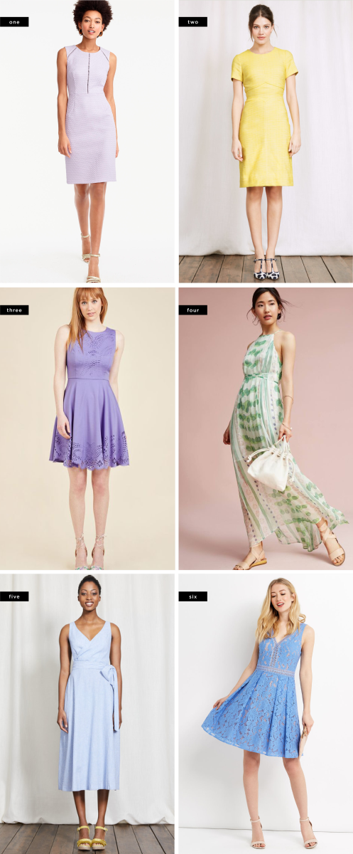 1. J.Crew, $148 / 2. Boden, $102 / 3. ModCloth, $60 / 4. Anthropologie, $198 / 5. Boden, $140 / 6. Oasis, $97