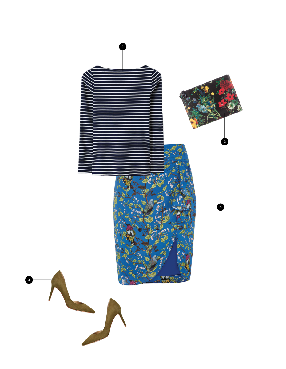 1. Boden, $35 / 2. Alice + Olivia, $195 / 3. Oasis, $62 / 4. Ann Taylor, $138