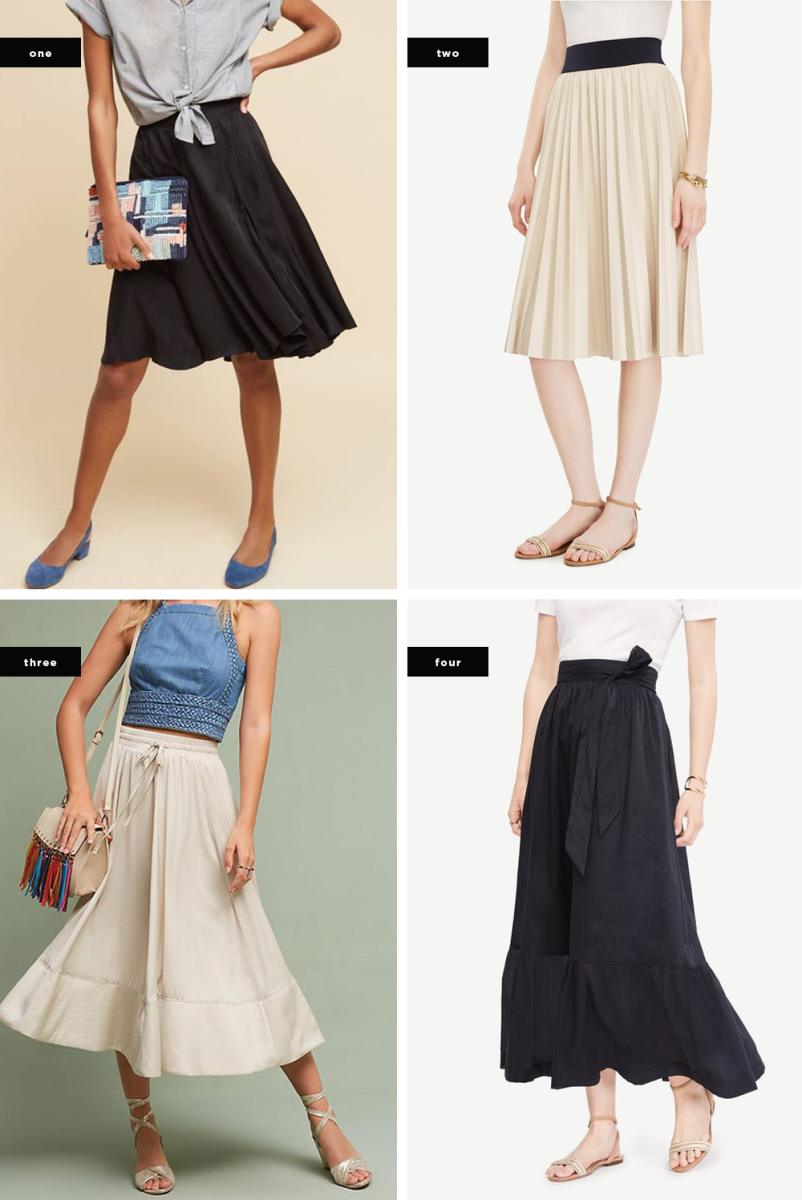 1. Anthropologie, $138 / 2. Ann Taylor, $129 / 3. Anthropologie, $138 / 4. Ann Taylor, $129