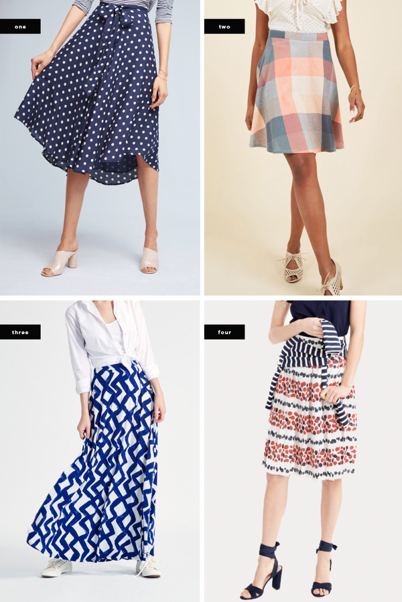 1. Anthropologie, $118 / 2. ModCloth, $80 / 3. Leota, $78 / 4. J.Crew, $98