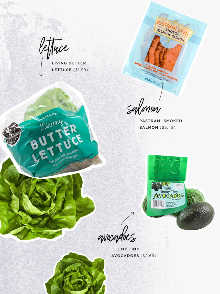 Living Butter Lettuce ($1.99) / Pastrami Smoked Salmon ($5.49) / Teeny Tiny Avocados ($2.69)