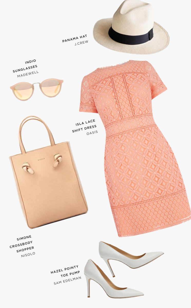 1. Hat, J.Crew, $58 / 2. Sunglasses, Madewell, $55 / 3. Dress, Oasis, $58 / 4. Bag, Nisolo, $158 / 5. Heels, Sam Edelman, $120