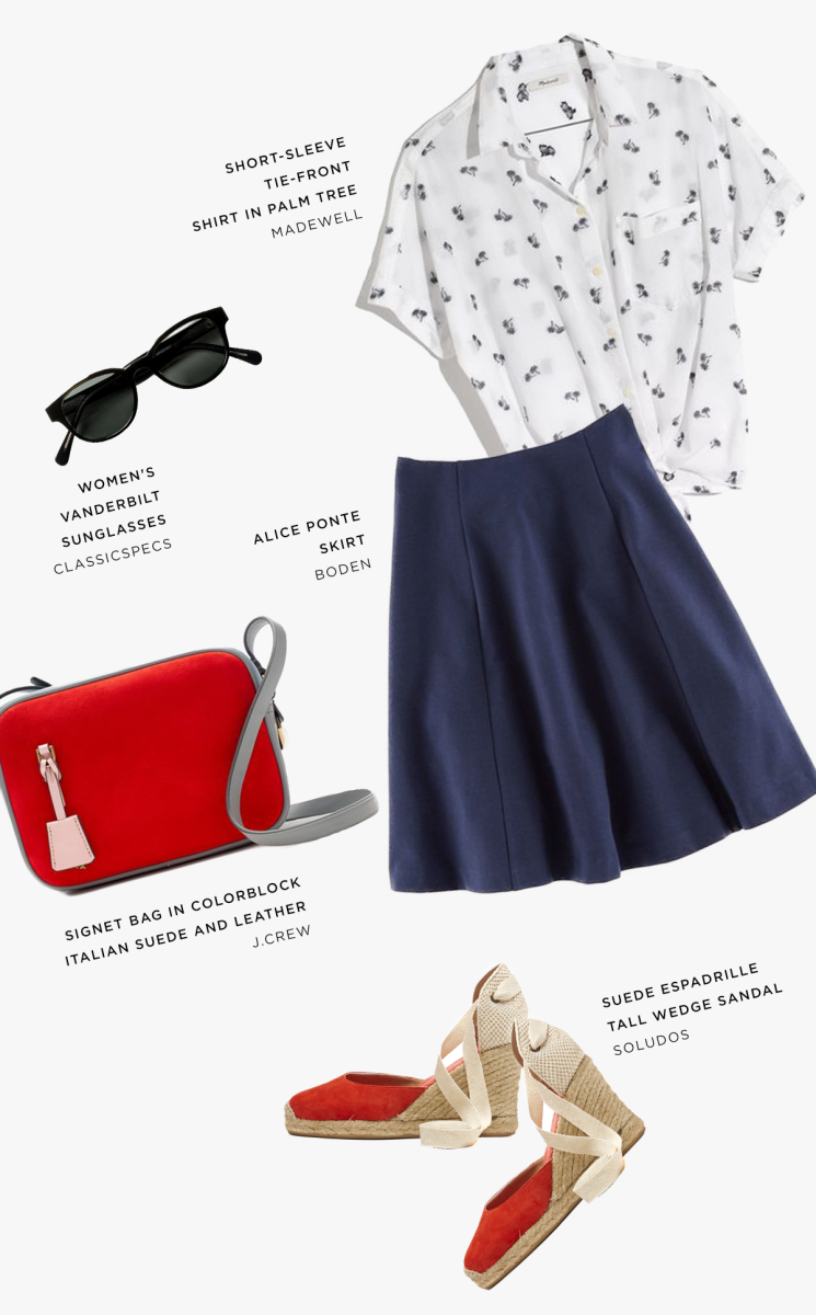 1. Button-Up, Madewell, $70 / 2. Sunglasses, Classic Specs, $99 / 3. Skirt, Boden, $49 / 4. Purse, J.Crew, $128 / 5. Wedges, Soludos, $75