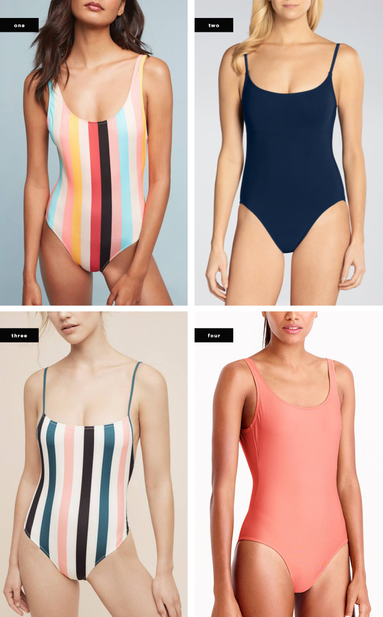 1. Anthropologie, $168 / 2. Wala Swim, $244 / 3. Anthropologie, $168 / 4. J.Crew, $70