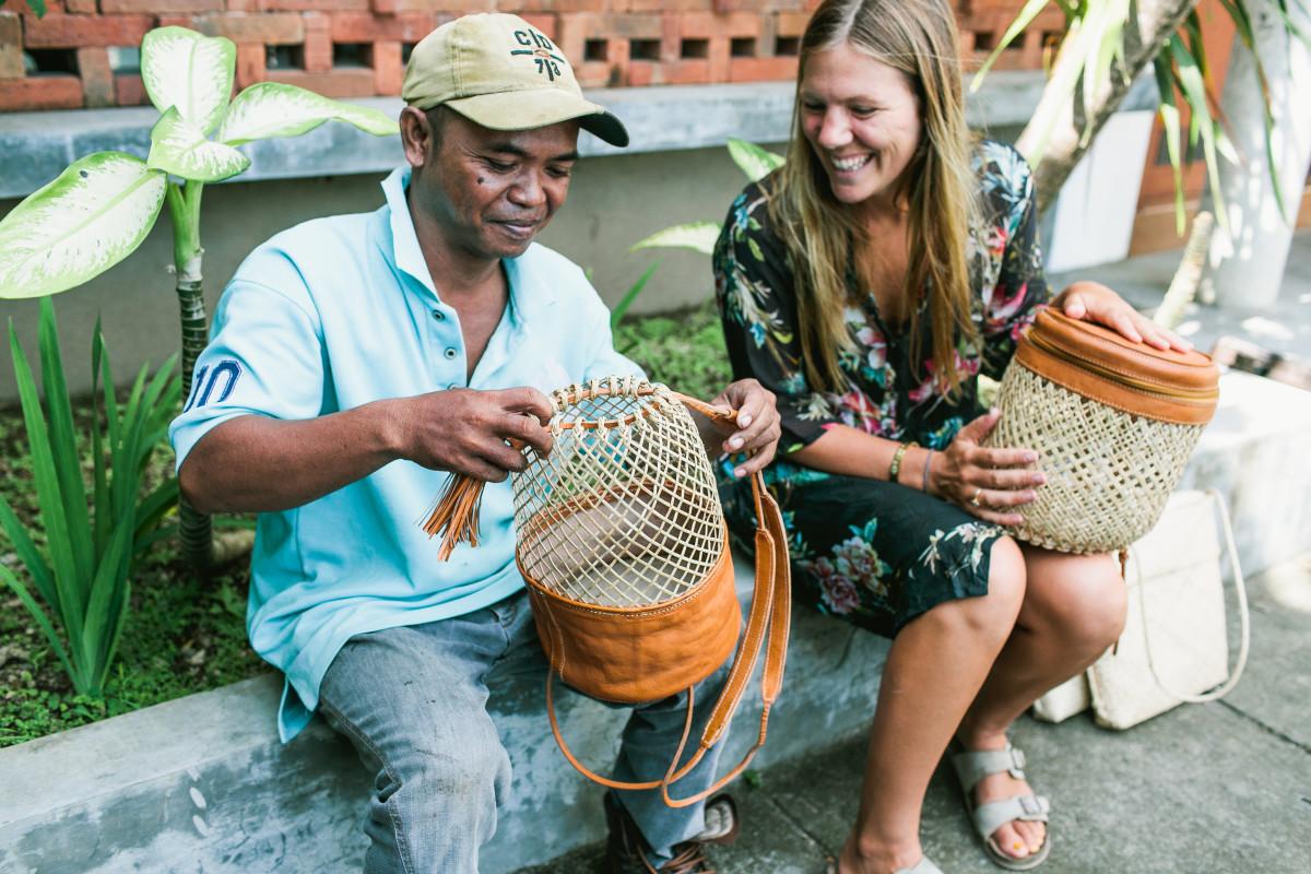 31 Bits designer Kallie with Bali artisan Sumesto