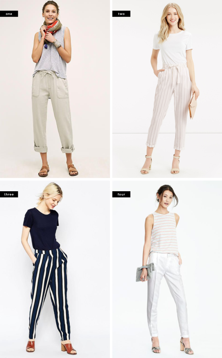 1. Anthropologie, $78 / 2. Oasis, $28 / 3. Banana Republic, $98 / 4. Banana Republic, $88
