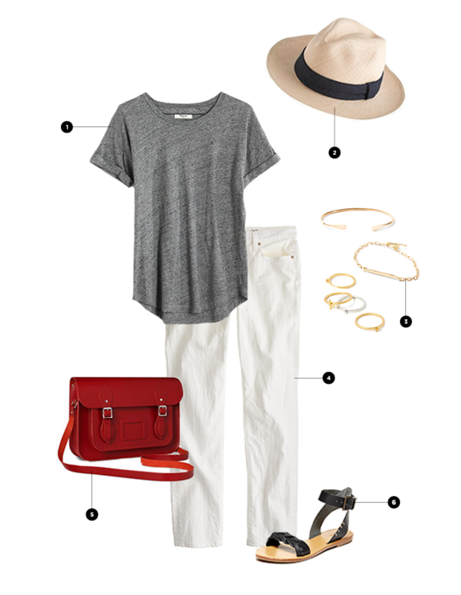 1. Madewell, $30 / 2. J.Crew, $60 / 3. Nisolo, $68 / 4. J.Crew, $115 / 5. Cambridge Satchel Co., $210 / 6. Soludos, $60