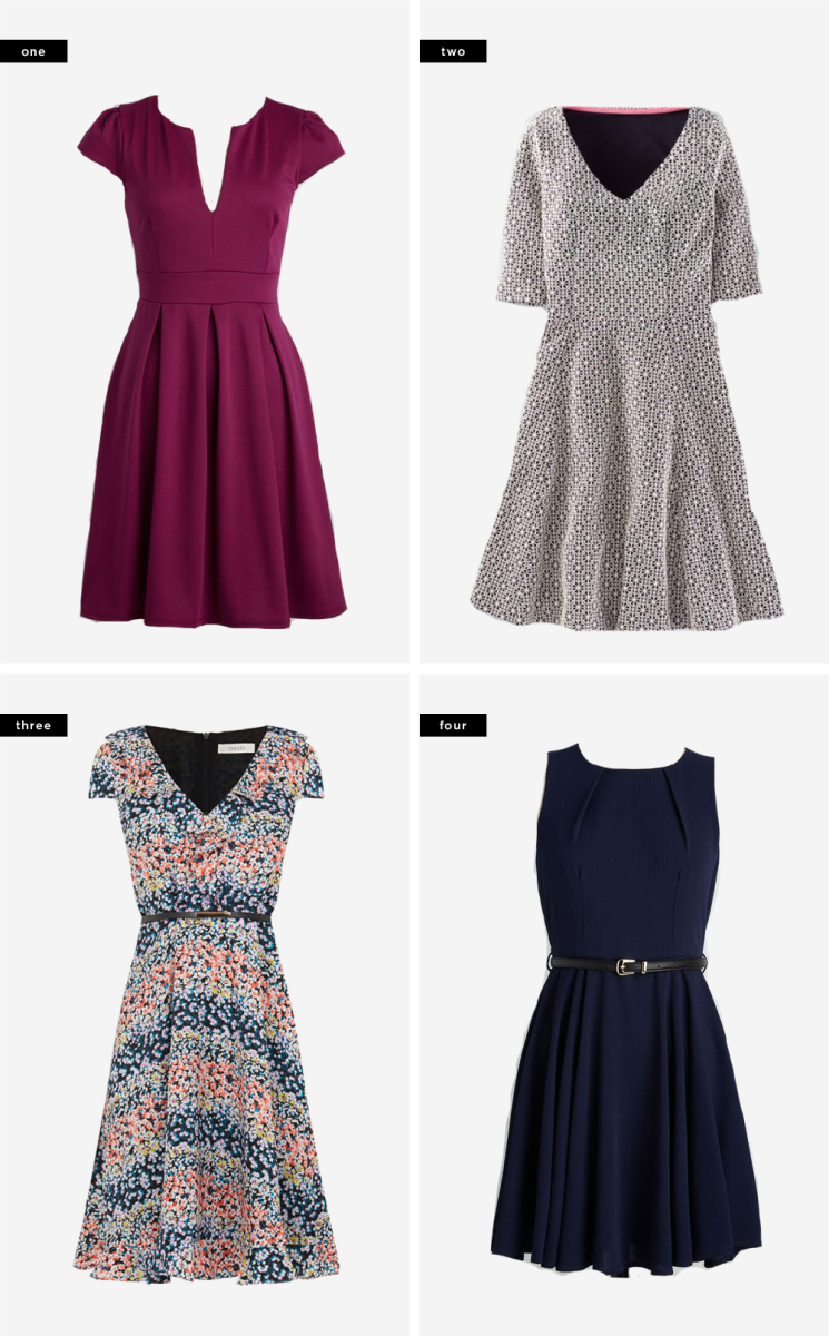 1. ModCloth, $60 / 2. Boden, $41 / 3. Oasis, $59 / 4. ModCloth, $60