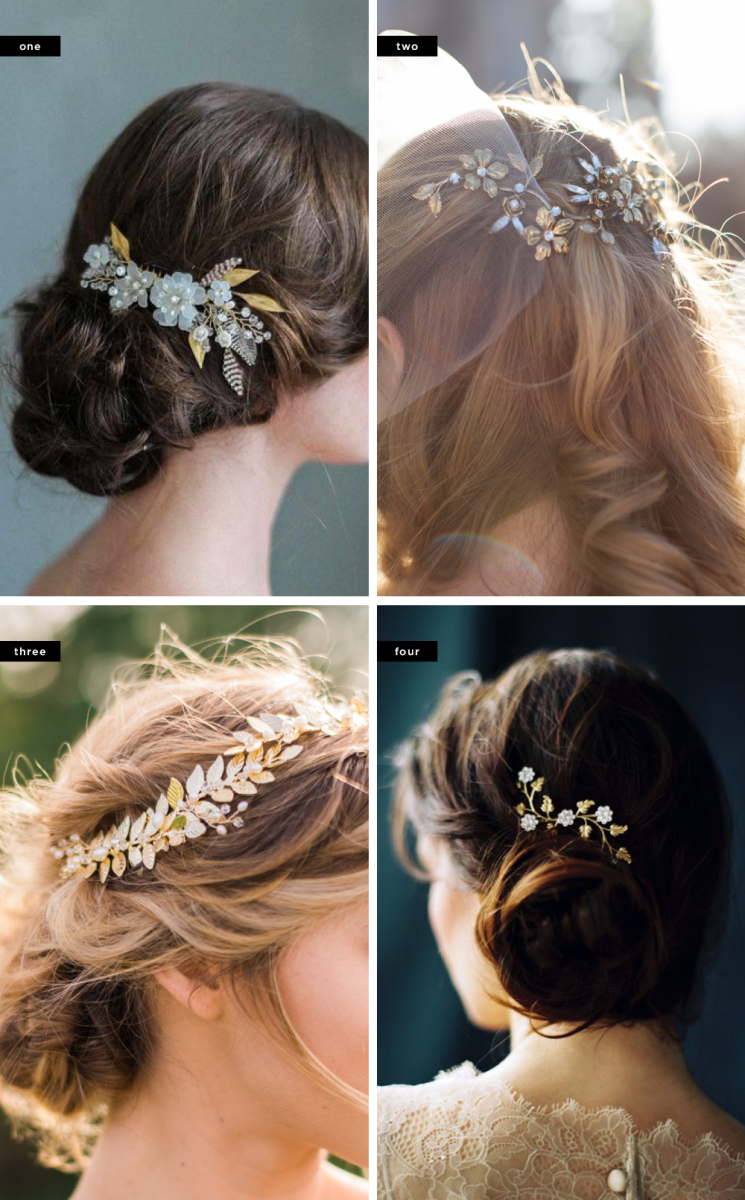 1. Twigs & Honey, $215 / 2. BHLDN, $125 / 3. ABitOfLoveWedding, $180 / 4. MelindaRoseDesign, $195