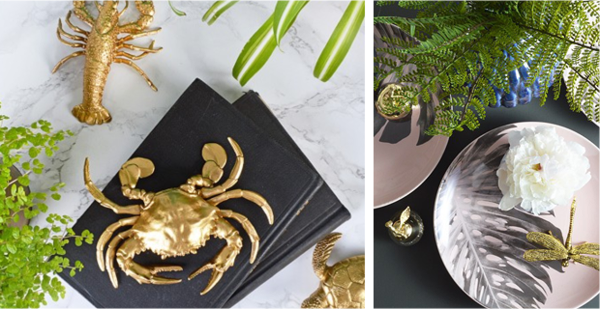 Spray paint plastic sea creatures in gold to create affordable statement pieces. Or pick out a gilded dragonfly or butterfly to add whimsy and character to plain tables, shelves, or other surfaces.