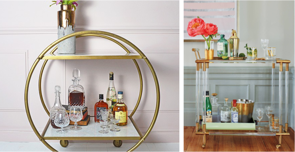 Whether crafted of round brass and white marble or Deco-inspired lucite and brass, you can't go wrong with adding a stylish bar cart to your collection. You'll use it for years of entertaining to come.