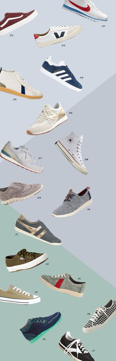 1. Nike, $100 / 2. Vans, $97 / 3. Veja, $146 / 4. Adidas, $121/ 5. Sawas Shoes, $45 / 6. New Balance, $80 / 7. New Balance, $80/ 8. Converse, $85 / 9. Cole Haan, $200 / 10. TOMS, $79 / 11.Gola, $89 / 12. Superga, $65 / 13. Converse, $73 / 14. Sawas Shoes, $56/ 15. Veja, $140 / 16.Seavees, $88 / 17. Brooks Heritage, $75