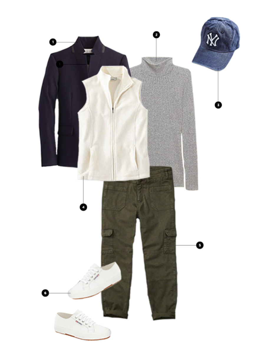1. J.Crew, $198 / 2. Aritzia, $50 / 3. Urban Outfitters, $29 / 4. L.L.Bean, $40 / 5. Abercrombie & Fitch, $68 / 6. Nordstrom, $109