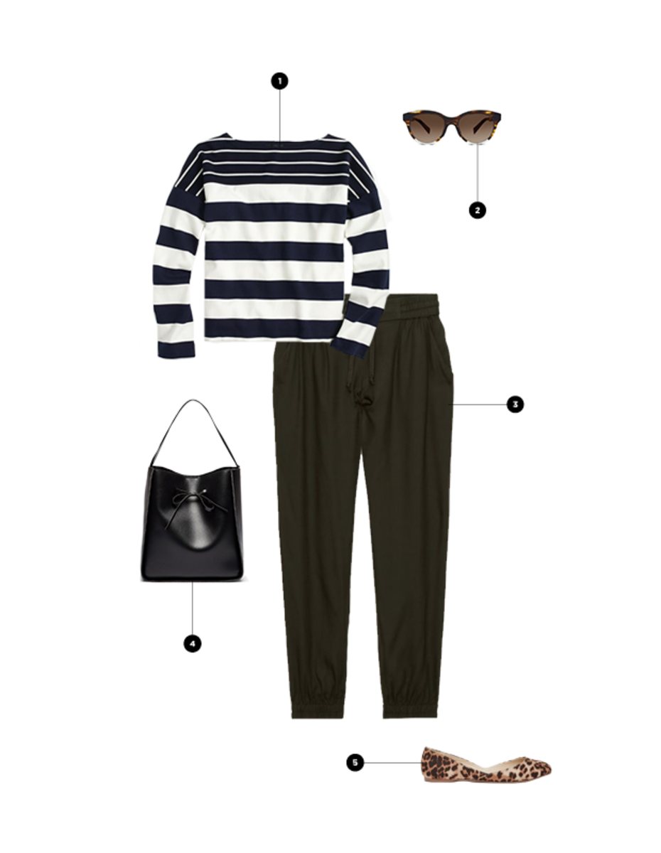 1. J.Crew, $40 / 2. Warby Parker, $95 / 3. Aritzia, $60 / 4. Sole Society, $65 / 5. Asos, $23