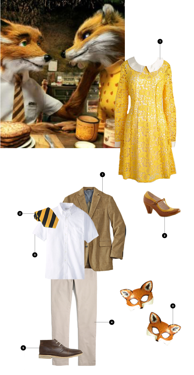 Mr. Fox: 1. Orvis, $159 / 2. Amazon, $10 / 3. Amazon, $10+ / 4. J.Crew Factory, $45 / 5. Asos, $73 // Mrs. Fox: 1. ModCloth, $150 / 2. ModCloth, $68 / 3. Etsy, $38 (similar)