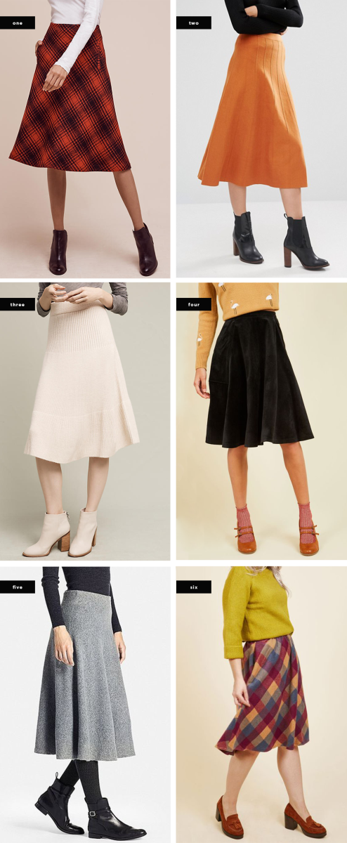 1. Anthropologie, $195 / 2. ASOS, $83 / 3. Anthropologie, $128 / 4. ModCloth, $70 / 5. Uniqlo, $30 / 6. ModCloth, $70