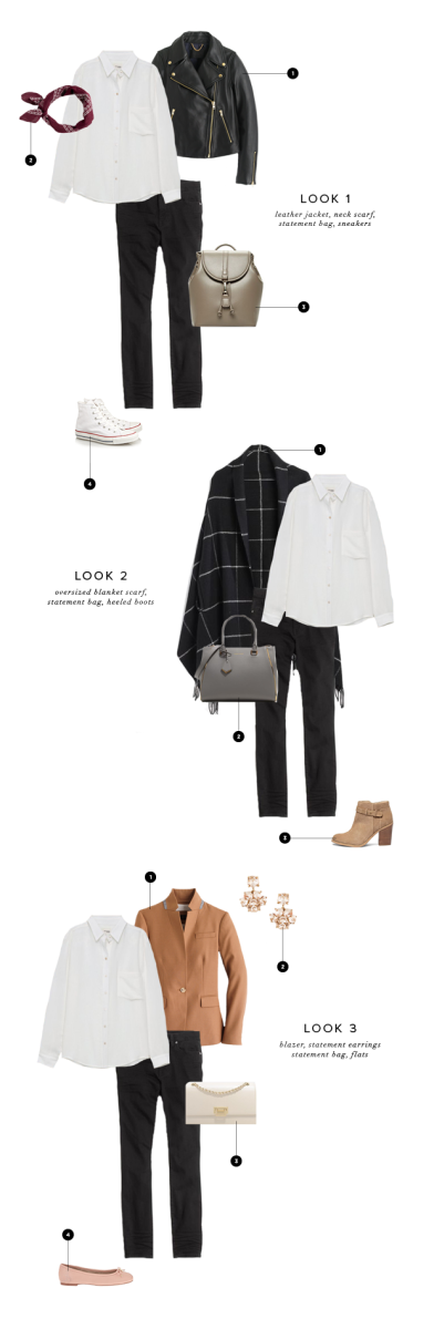 Base Look // Button-Up, Aritzia, $98 / Black Skinnies, Madewell, $125 // Look One: 1. Leather Jacket, J.Crew, $550 / 2. Bandanna, J.Crew, $13 / 3. Bag, Sole Society, $50 / 4. Sneakers, Converse, $60 // Look Two: 1. Scarf, Madewell, $80 / 2. Bag, Charles & Keith, $89 / 3. Boots, Sole Society, $100 // Look Three: 1. Blazer, J.Crew, $198 / 2. Earrings, Ann Taylor, $40 / 3. Purse, Charles & Keith, $69 / 4. Flats, Sam Edelman, $80