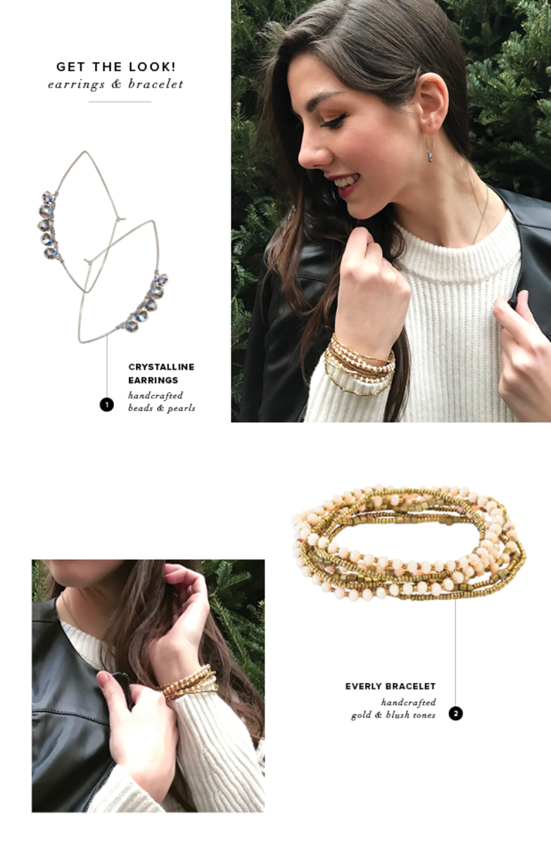 Purpose Crystalline Earrings, $22; Everly Bracelet, $28