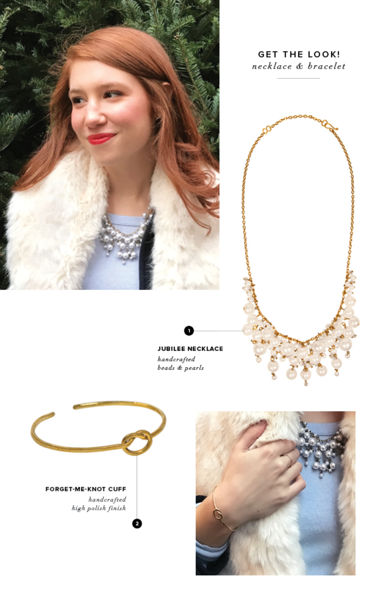 Purpose Jubilee Necklace, $36; Forget-Me-Knot Cuff, $28