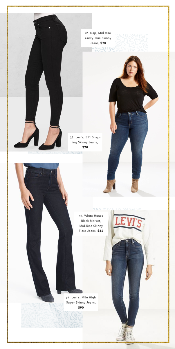 1. Gap, $70 / 2. Levi's, $55 / 3. White House Black House, $62 / 4. Levi's, $90 (Price changes may occur due to sales)