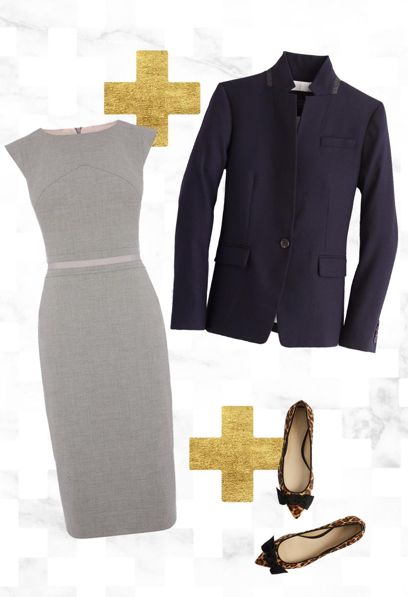 1. Dress, Oasis, $92 / 2. Blazer, J.Crew, $198 / 3. Shoes, Ann Taylor, $138