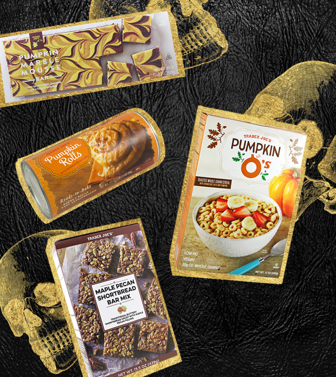 Pumpkin Marble Mousse Bars, $5.99 / Iced Pumpkin Rolls, $3.99 / Pumpkin O's Cereal, $2.69 / Maple Pecan Shortbread, $3.99