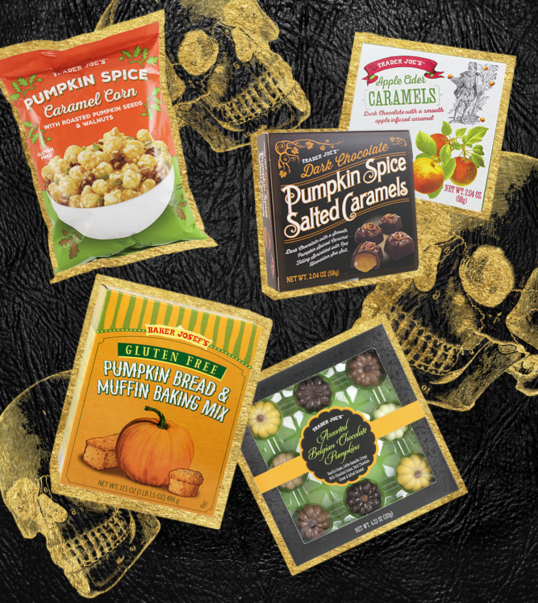 Pumpkin Spice Caramel Corn, $2.99 / Dark Chocolate Pumpkin Spice Caramels, $1.99 / Apple Cider Caramels, $1.99 / Gluten Free Pumpkin Bread & Muffin Mix, $3.99 / Belgian Chocolate Pumpkins, $2.99
