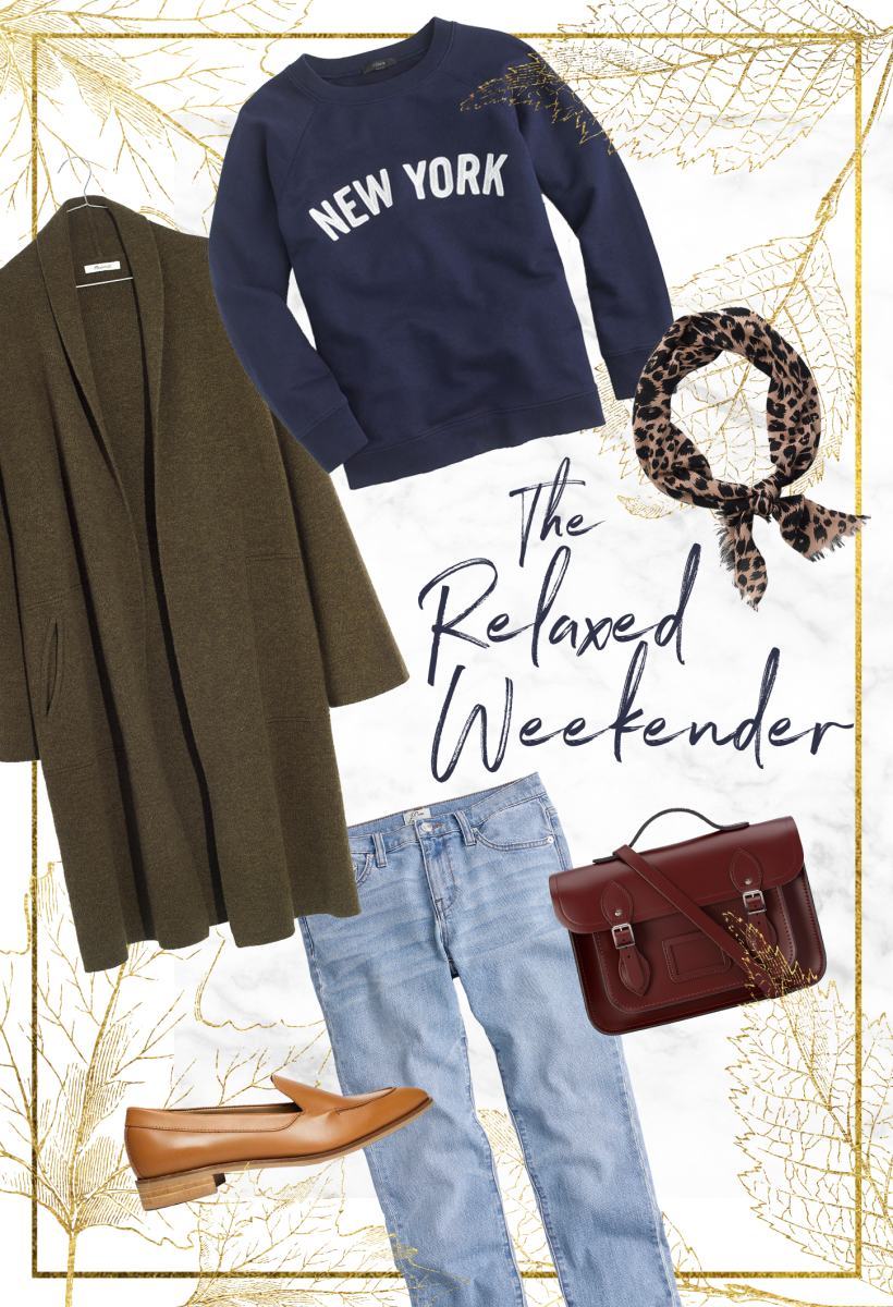 1. Sweatshirt, J.Crew, $50 / 2. Cardigan, Madewell, $178 / 3. Scarf, J.Crew, $15 / 4. Jeans, J.Crew, $125 / 5. Loafers, Everlane, $168 / 6. Purse, Cambridge Satchel Co., $240