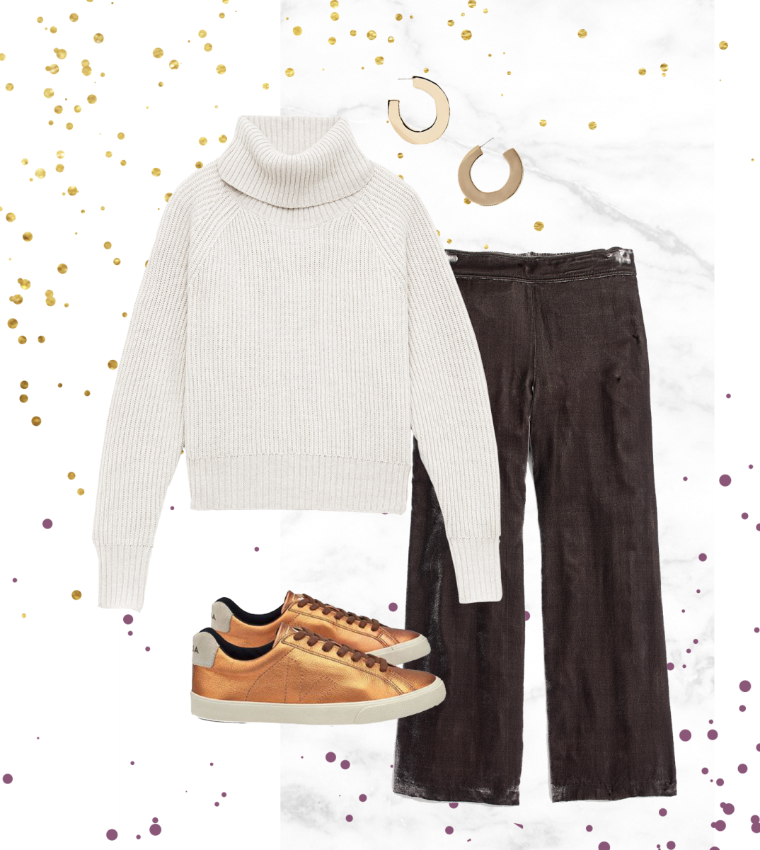 1. Sweater, Aritzia, $145 / 2. Pants, Madewell, $125 / 3. Sneakers, Veja, $131
