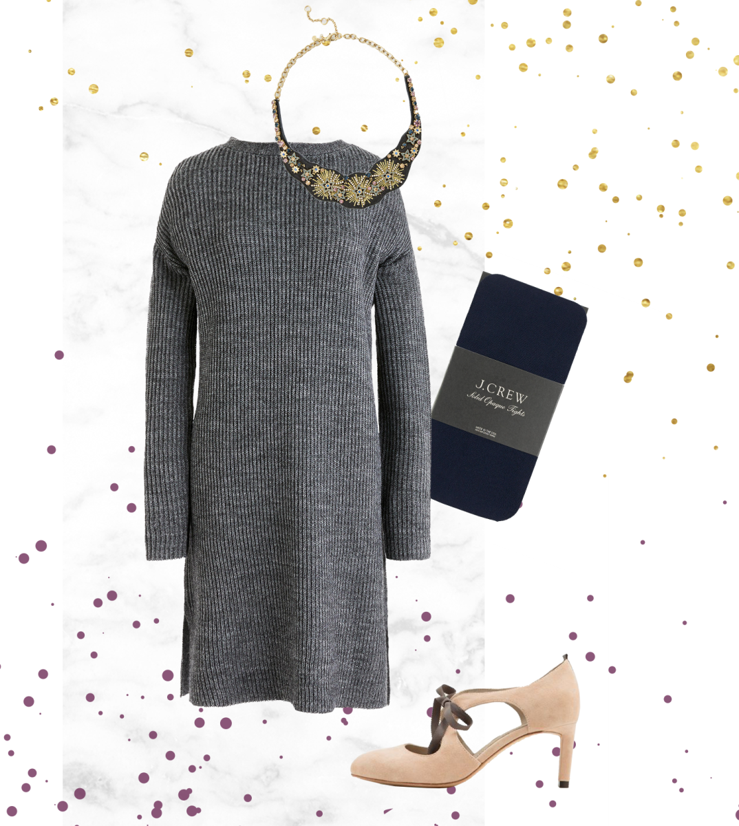 1. Dress, J.Crew, $77 / 2. Necklace, Ann Taylor, $90 / 3. Tights, J.Crew, $20 / 4. Heels, Boden, $170