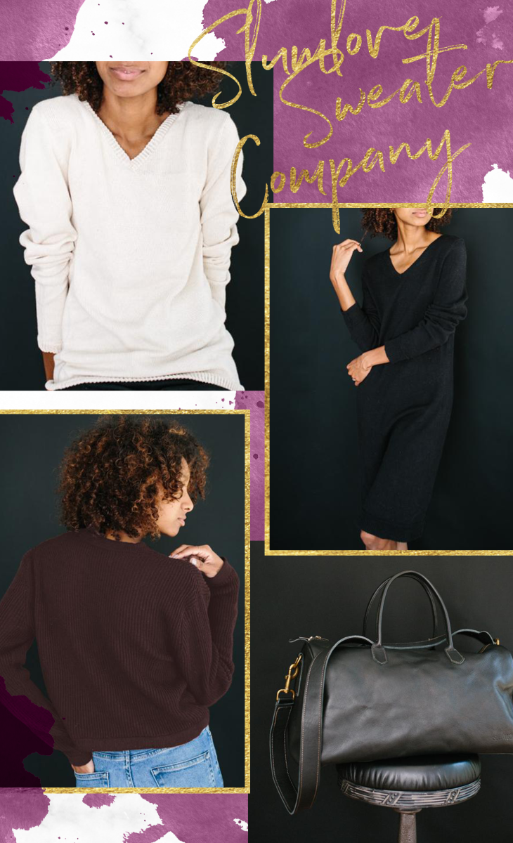 1. White Sweater, $85 / 2. Black Sweater Dress, $110 / 3. Brown Sweater, $79 / 4. Weekender, $250