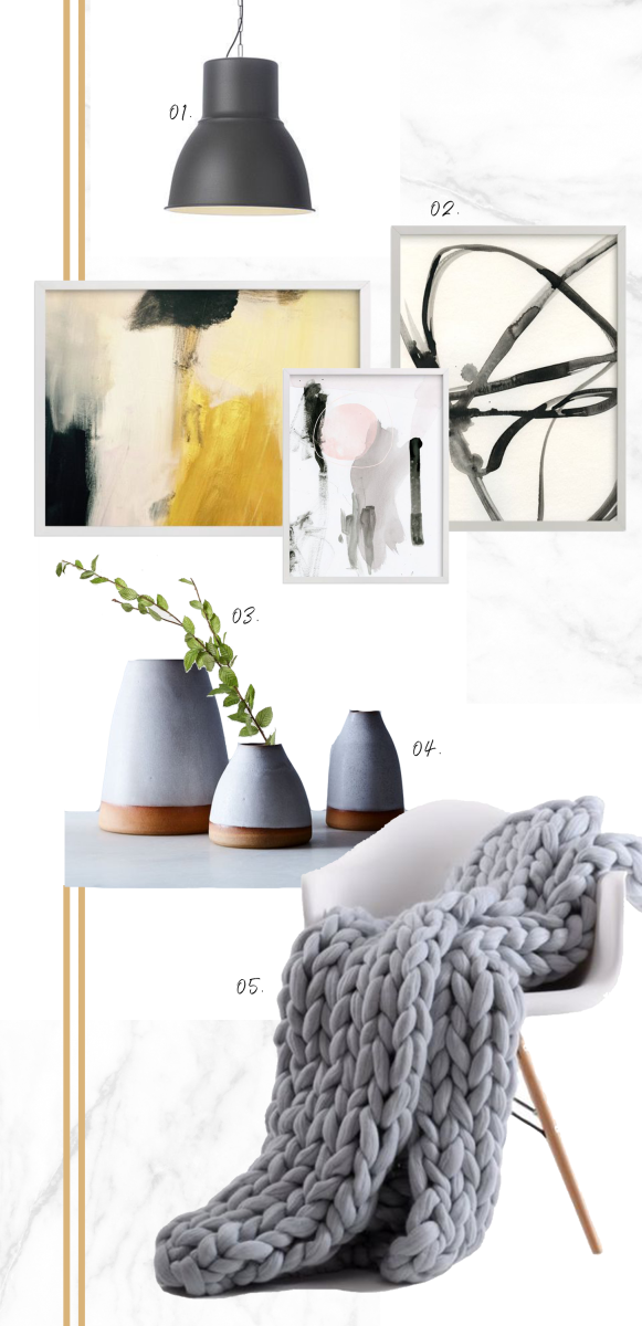1. IKEA Hektor Pendant, 2. Minted Fine Art Prints, 3. Magnolia Market Beech Tree Stem, 4. Food52 Handthrown Dipped Ceramic Vase, 5. Amazon Eastsure Knit Blanket, Chair, Wayfair Whiteabbey Side Chair