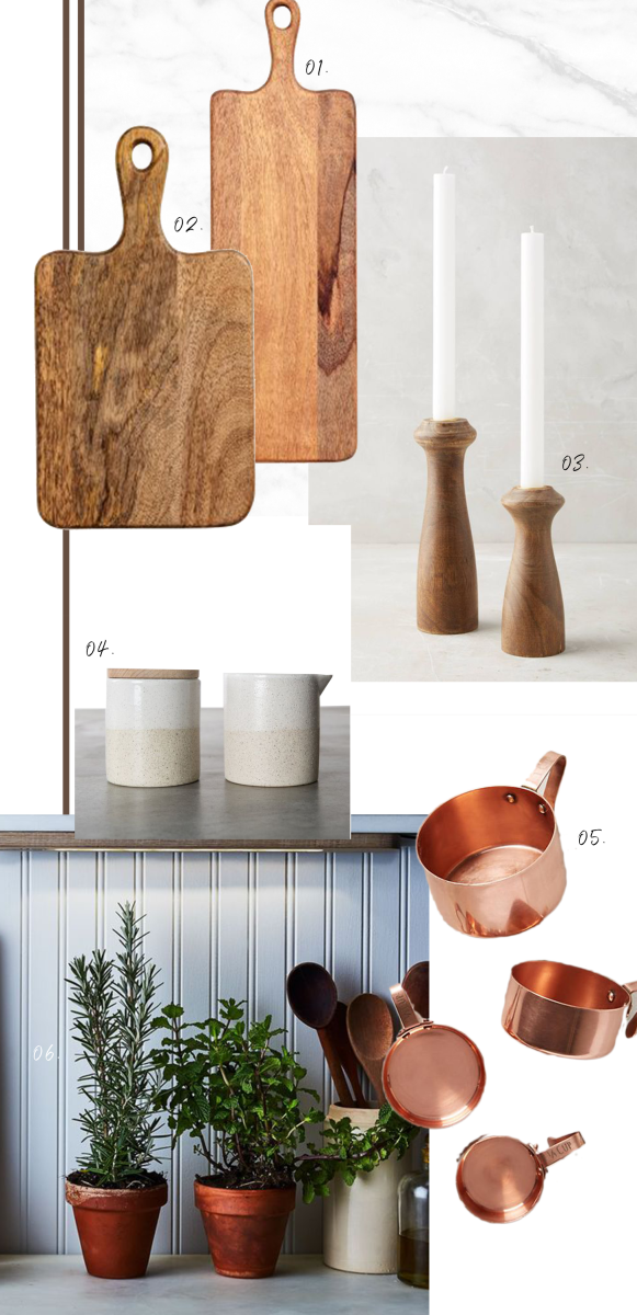 1. H&M Home, Cutting Board, 2. H&M Home, Cutting Board, 3.  Anthropologie Issa Taper,  4. Magnolia, Ceramic Adelina Set, 5. Anthropologie, Russet Measuring Cups, 6. Food52, Grow Anywhere Herb Grow Bar