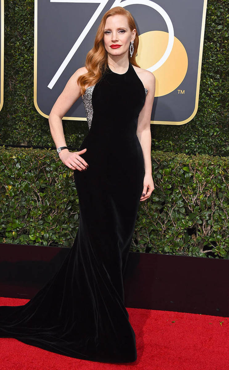 Jessica Chastain, Armani Prive // Photo Credit: E! News