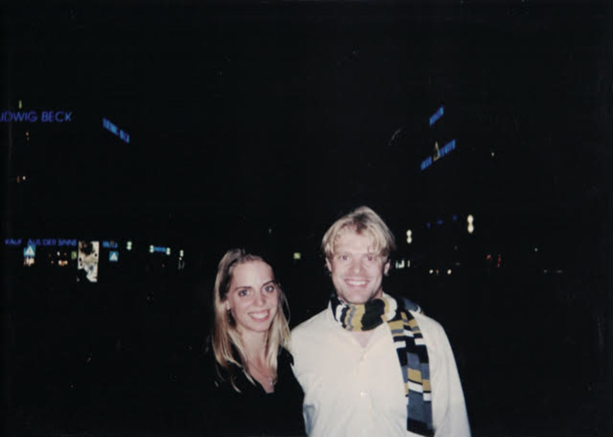 Ana and her husband at Marienplatz in Munich while studying abroad in 2004.