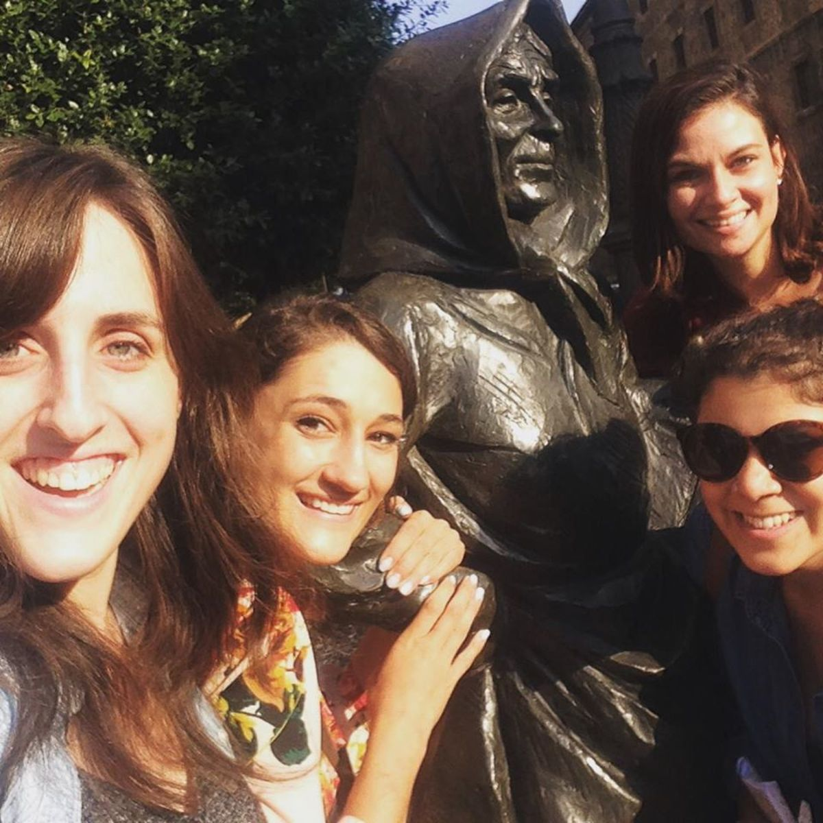Therese and friends with La Gitana, one of the many sculptures dotting the streets inOviedo, Spain.