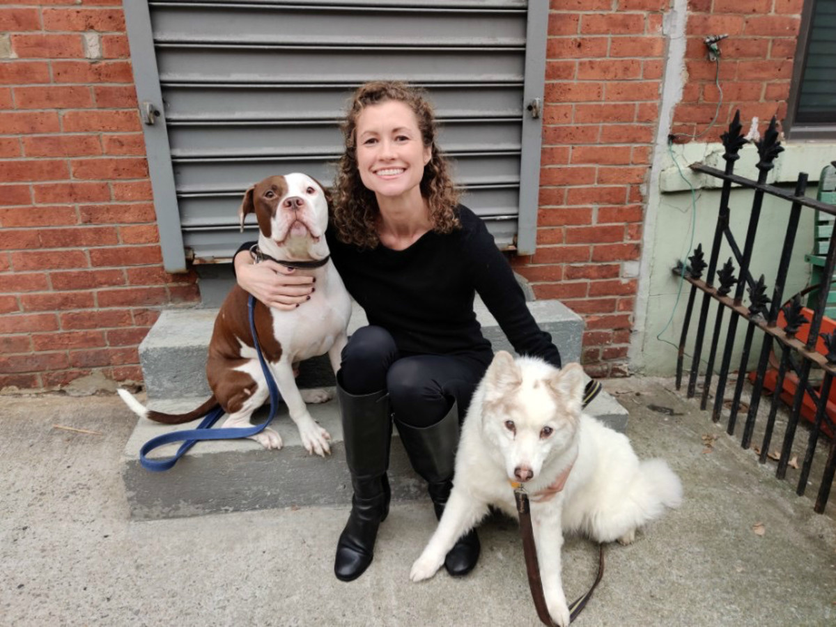 Andrea with her dogs Milo and Lola.